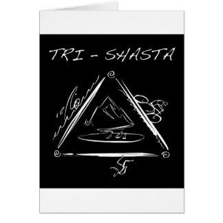 Tri Shasta Triathalon Logotipo blanco en negro Tarjeton