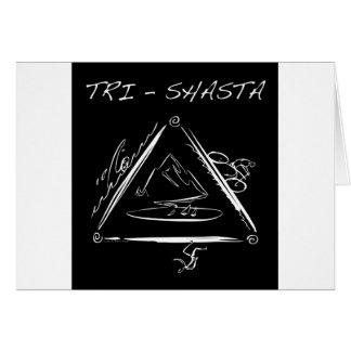 Tri Shasta Triathalon Logotipo blanco en negro Tarjeta