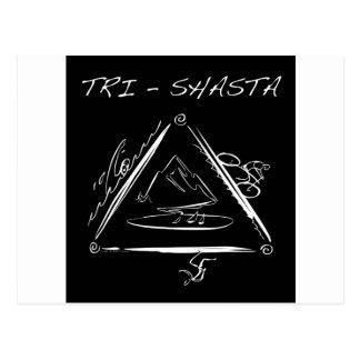 Tri Shasta Triathalon Logotipo blanco en negro Tarjeta Postal