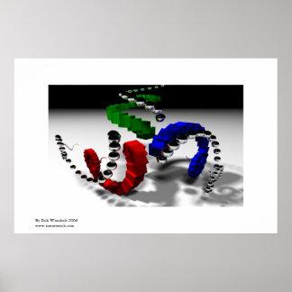 Tri Spiral Recursive Raytraced Image Poster