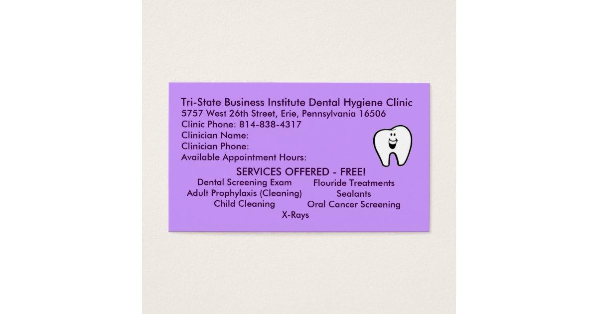 Tri-State Dental Hygiene Business Card | Zazzle.com