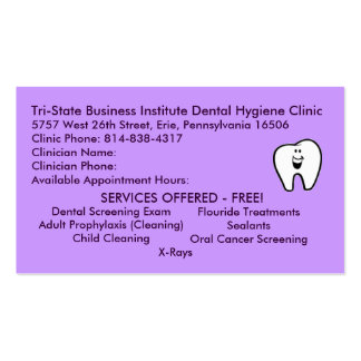 Tri-State Dental Hygiene Double-Sided Standard Business Cards (Pack Of 100)