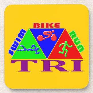 Tri Triathlon Figures Design Beverage Coaster