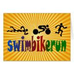 TRI Triathlon Swim Bike Run BLACK Bumper Design Greeting Card