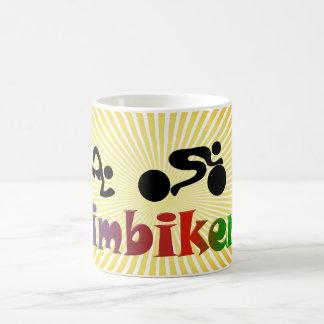 TRI Triathlon Swim Bike Run BLACK Bumper Design Coffee Mug