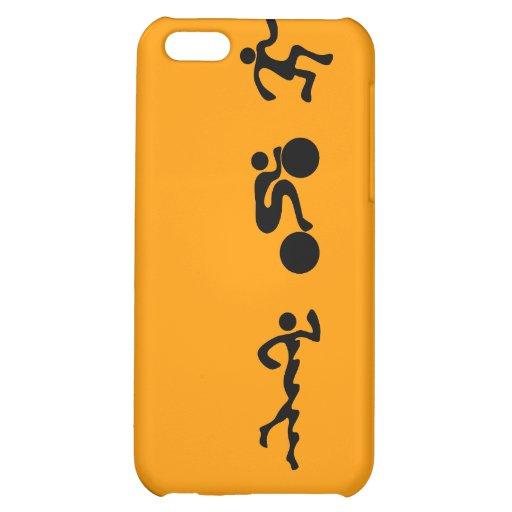 TRI Triathlon Swim Bike Run BLACK Bumper Design iPhone 5C Case
