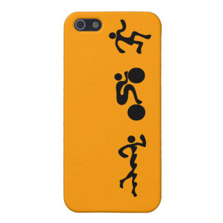 TRI Triathlon Swim Bike Run BLACK Bumper Design iPhone SE/5/5s Cover