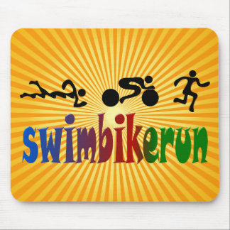 TRI Triathlon Swim Bike Run BLACK Bumper Design Mouse Pad