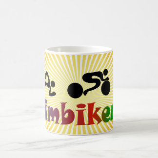 TRI Triathlon Swim Bike Run BLACK Bumper Design Classic White Coffee Mug