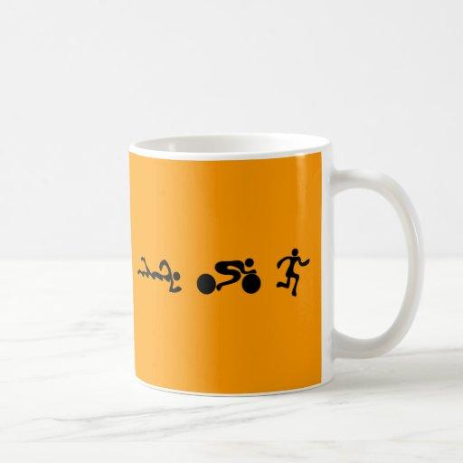 TRI Triathlon Swim Bike Run BLACK Bumper Design Coffee Mugs