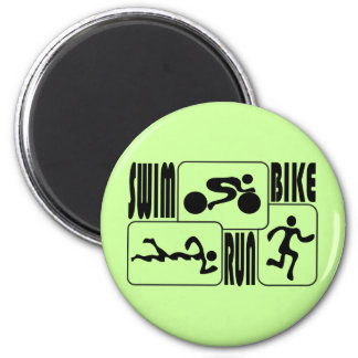TRI Triathlon Swim Bike Run BLACK Squares Design 2 Inch Round Magnet