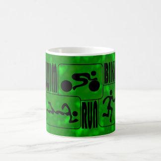 TRI Triathlon Swim Bike Run BLACK Squares Design Coffee Mug