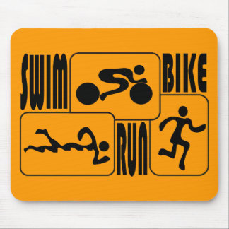 TRI Triathlon Swim Bike Run BLACK Squares Design Mouse Pad