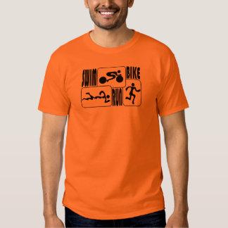 TRI Triathlon Swim Bike Run BLACK Squares Design Shirt