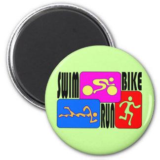TRI Triathlon Swim Bike Run BRIGHT Square Design 2 Inch Round Magnet