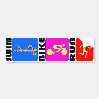 TRI Triathlon Swim Bike Run Bumper Sticker
