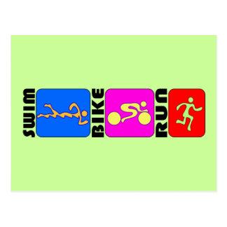 TRI Triathlon Swim Bike Run COLOR Bumper Design Postcard