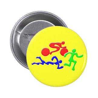 TRI Triathlon Swim Bike Run COLOR Figures Design Button