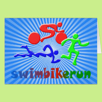 TRI Triathlon Swim Bike Run COLOR Figures Design Card
