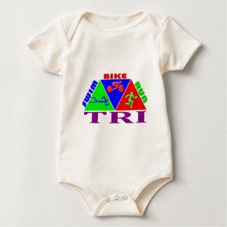 TRI Triathlon Swim Bike Run PYRAMID Design Baby Bodysuit