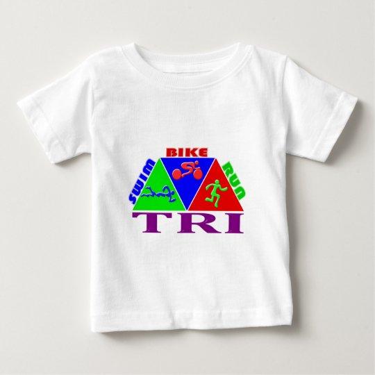 TRI Triathlon Swim Bike Run PYRAMID Design Baby T-Shirt