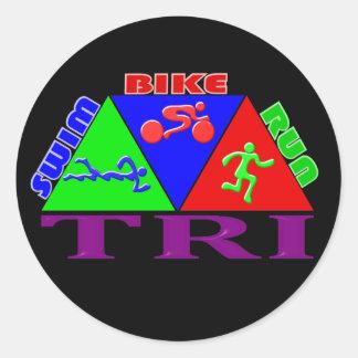 TRI Triathlon Swim Bike Run PYRAMID Design Classic Round Sticker