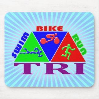 TRI Triathlon Swim Bike Run PYRAMID Design Mouse Pad