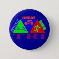 TRI Triathlon Swim Bike Run PYRAMID Design Pinback Button