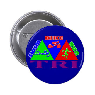 TRI Triathlon Swim Bike Run PYRAMID Design Pinback Button