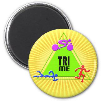 TRI Triathlon Swim Bike Run TRIANGLE TRI ME Design 2 Inch Round Magnet