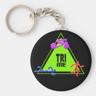 TRI Triathlon Swim Bike Run TRIANGLE TRI ME Design Keychain