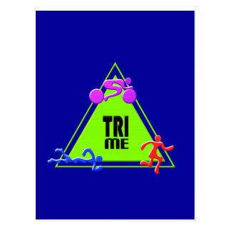 TRI Triathlon Swim Bike Run TRIANGLE TRI ME Design Postcard