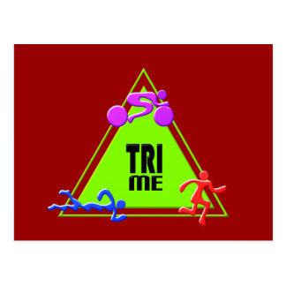 TRI Triathlon Swim Bike Run TRIANGLE TRI ME Design Postcards