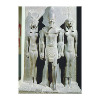 Triad of Menkaure  with the goddess Hathor Canvas Print