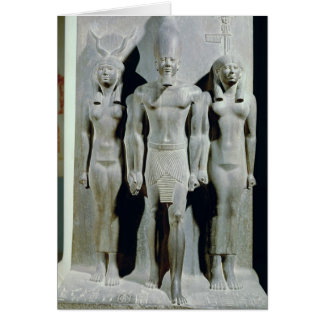 Triad of Menkaure  with the goddess Hathor Greeting Card