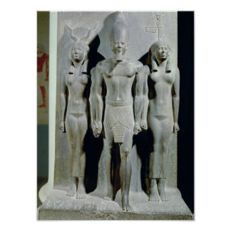 Triad of Menkaure  with the goddess Hathor Poster