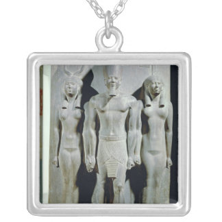 Triad of Menkaure  with the goddess Hathor Silver Plated Necklace