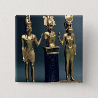 Triad of Osorkon II: Osiris flanked by Isis and Ho Button