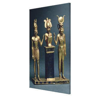 Triad of Osorkon II: Osiris flanked by Isis and Ho Gallery Wrapped Canvas