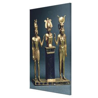 Triad of Osorkon II: Osiris flanked by Isis and Ho Canvas Print