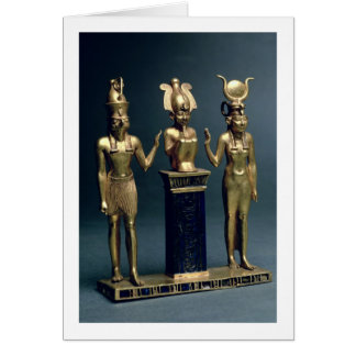 Triad of Osorkon II: Osiris flanked by Isis and Ho Card