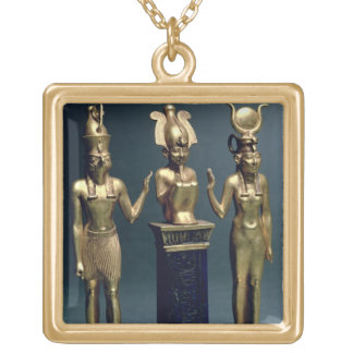 Triad of Osorkon II: Osiris flanked by Isis and Ho Gold Plated Necklace
