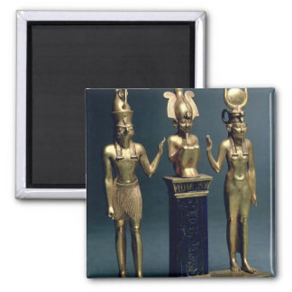 Triad of Osorkon II: Osiris flanked by Isis and Ho Magnet