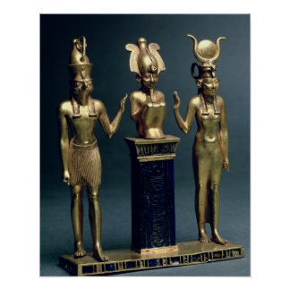 Triad of Osorkon II: Osiris flanked by Isis and Ho Poster