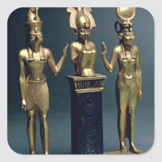Triad of Osorkon II: Osiris flanked by Isis and Ho Square Sticker