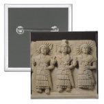 Triad of Palmyrene Gods, from Palmyra Region 2 Inch Square Button