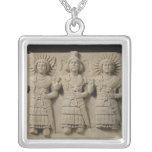 Triad of Palmyrene Gods, from Palmyra Region Square Pendant Necklace