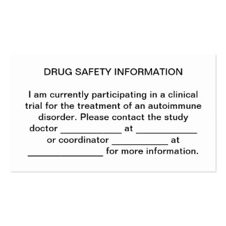 Trial Medication Safety Card Double-Sided Standard Business Cards (Pack Of 100)