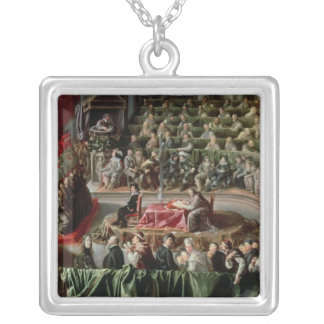 Trial of Galileo, 1633 Silver Plated Necklace