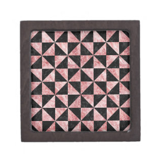TRIANGLE1 BLACK MARBLE & RED & WHITE MARBLE JEWELRY BOX